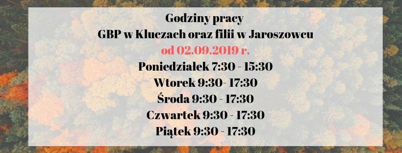 Więcej o: Godziny otwarcia GBP w Kluczach oraz filii w Jaroszowcu